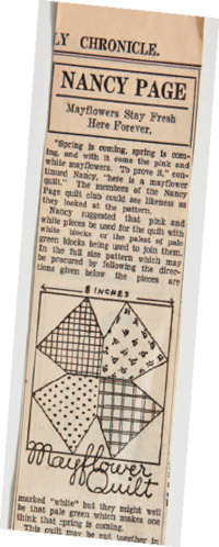 Nancy Page newspaper article--Mayflower quilt block