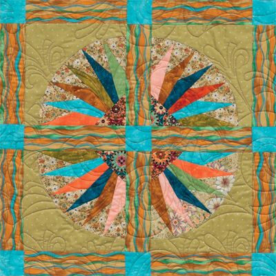Detail of Spinning Waterwheels quilt