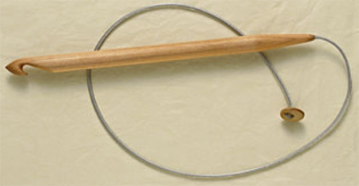 Tunisian crochet hook with cable and stopper