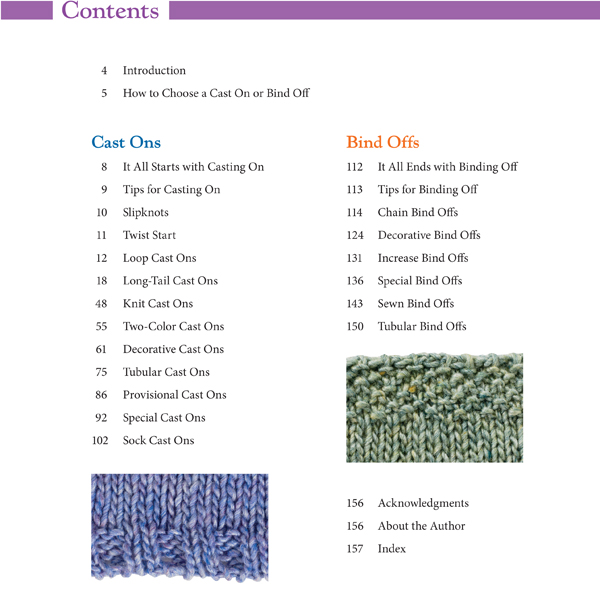 Cast On Bind Off Table of Contents