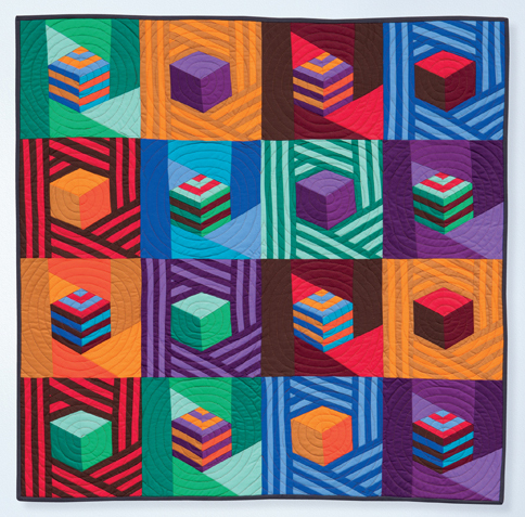 Jazzed-Up Tumbling Blocks quilt