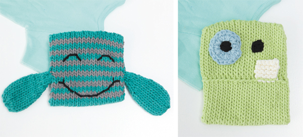 Free pattern--knitted monster washcloth set