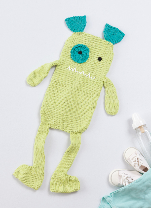 Free pattern--knitted monster burp cloth