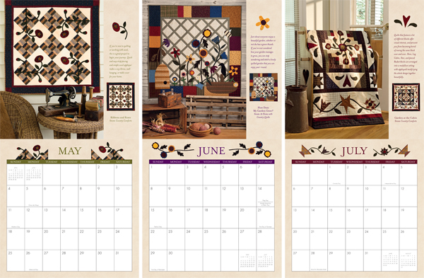 Sample pages from the At Home with Country Quilts 2014 Calendar