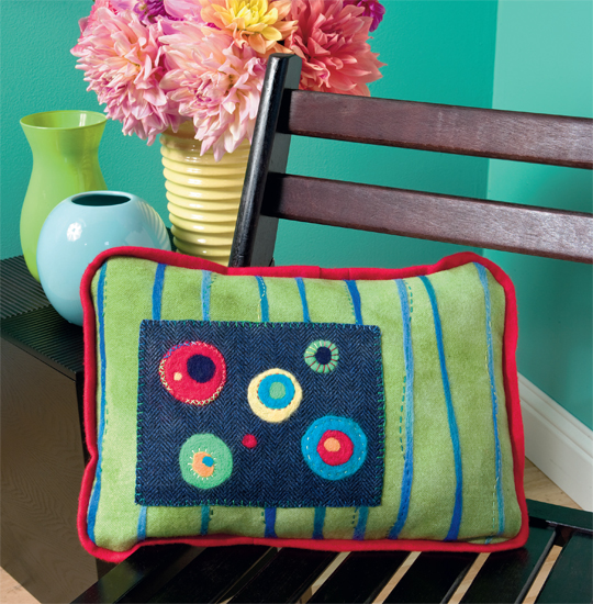 Bright and Happy Pillow from Needle Felting with Cotton and Wool