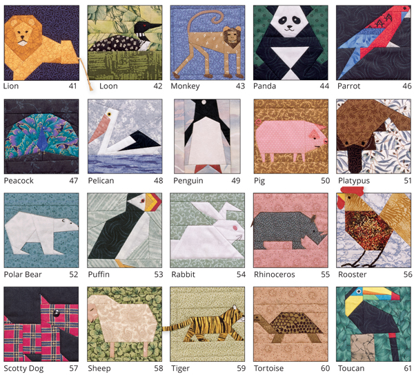 More animal quilt blocks from A Quilter's Ark