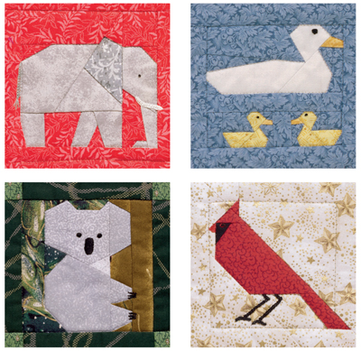 Animal quilt blocks from A Quilter's Ark