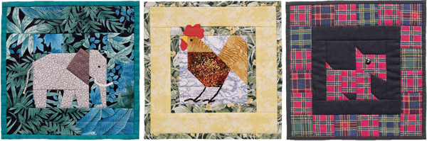 Single-block animal quilts from A Quilter's Ark