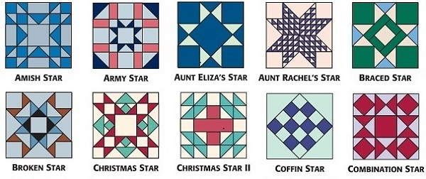 9-inch star blocks from 501 Rotary-Cut Quilt Blocks A