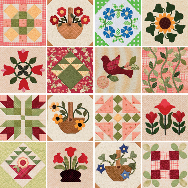 Quilt blocks from Gathered from the Garden