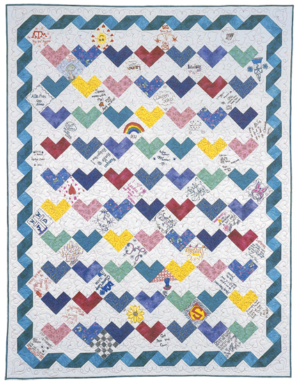 Hearts and Ribbons quilt