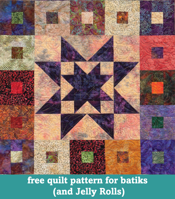 Free quilt pattern for batiks and Jelly Rolls