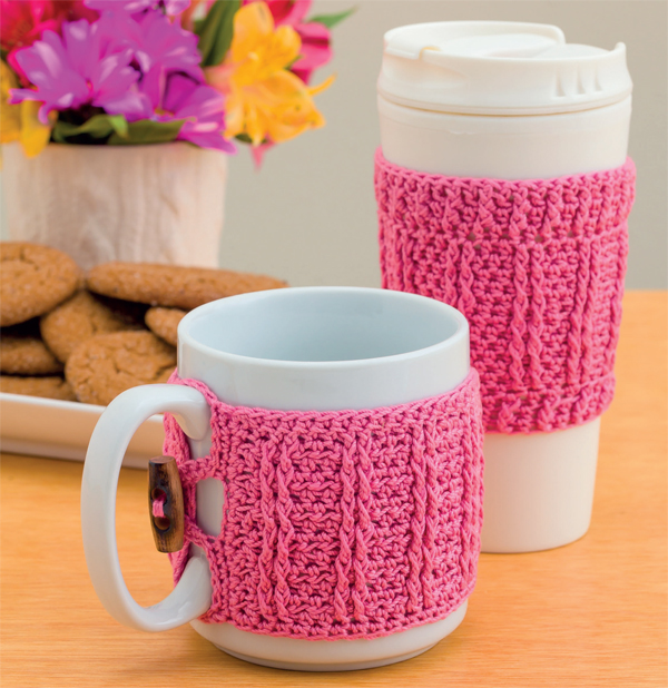 Coffee cozies from Crochet Pink