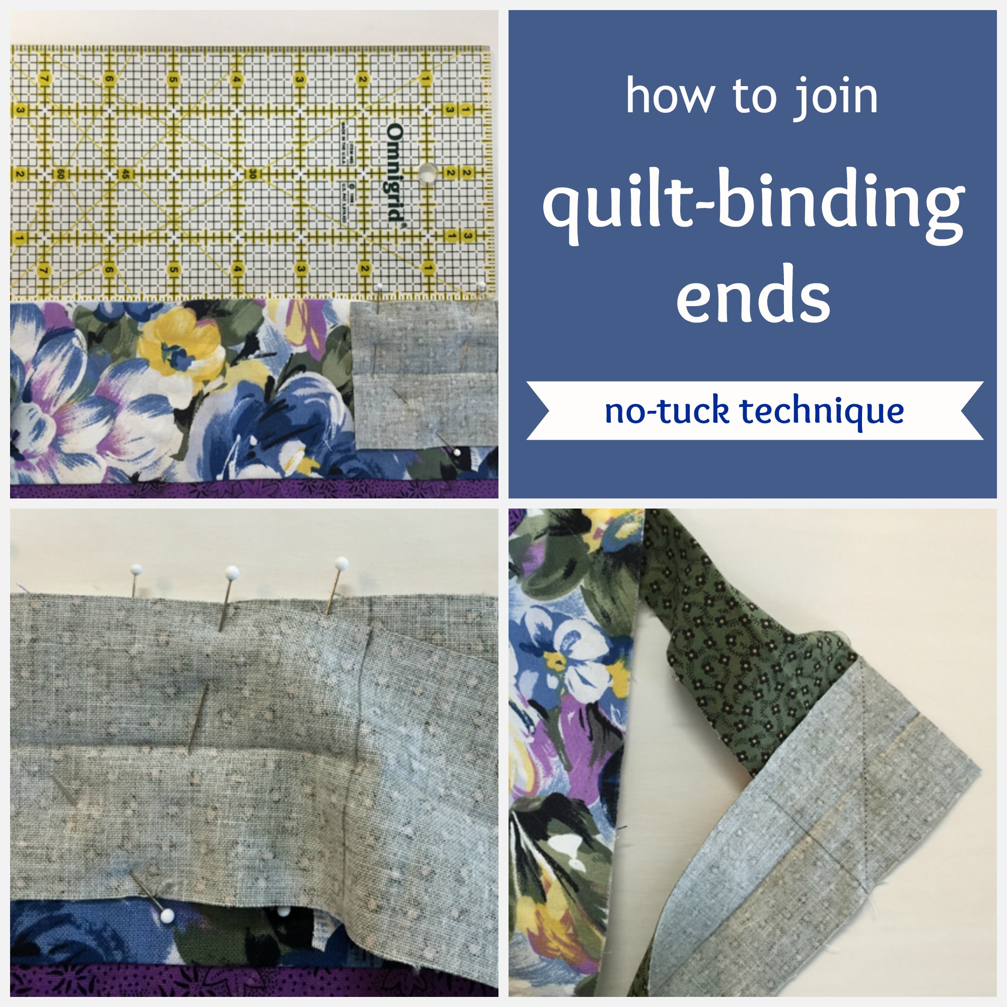 how to join quilt binding ends no tuck technique