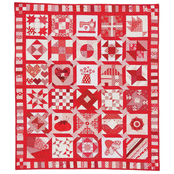 30-Block Red-and-White quilt