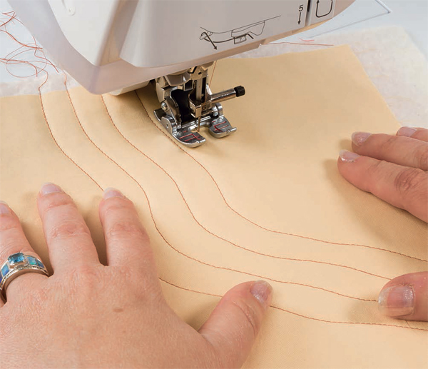 Machine quilting curves with a walking foot