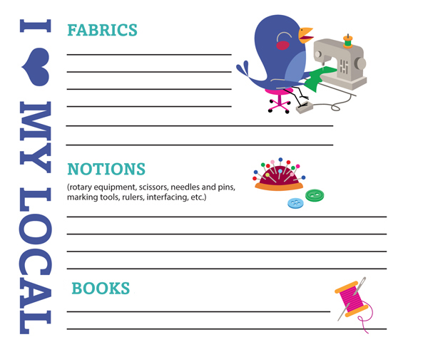 Free printable shopping list for quilters