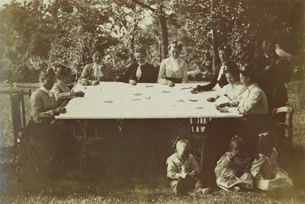 Quilting party, 1898