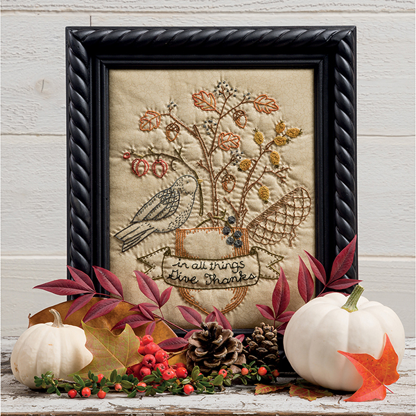 Give Thanks framed embroidery