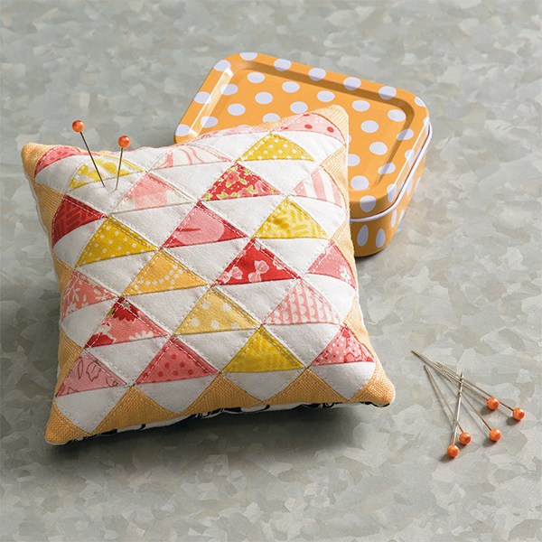 Pink Half-Square Triangles pincushion