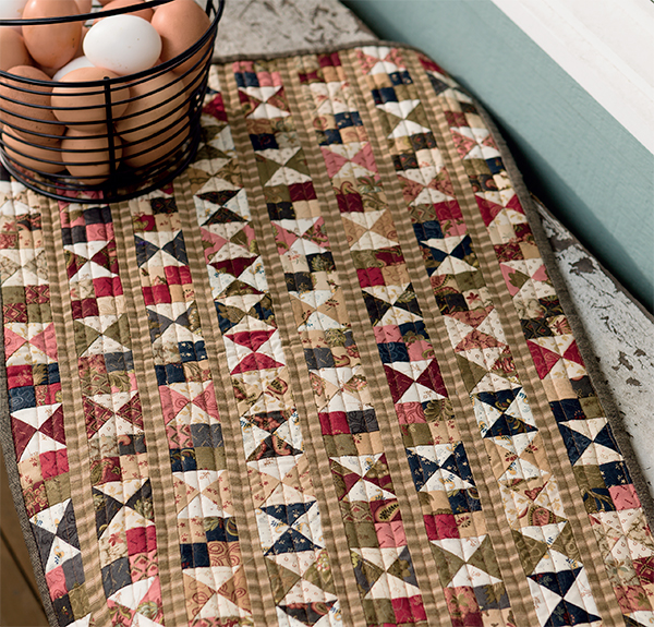 Vintage Hourglass and Four Patch quilt